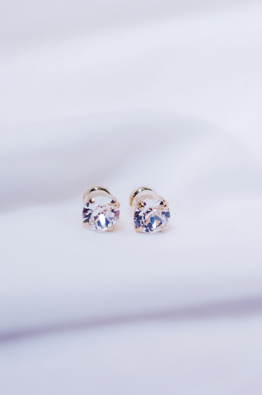 Classic Stud Earring Crystal Gold