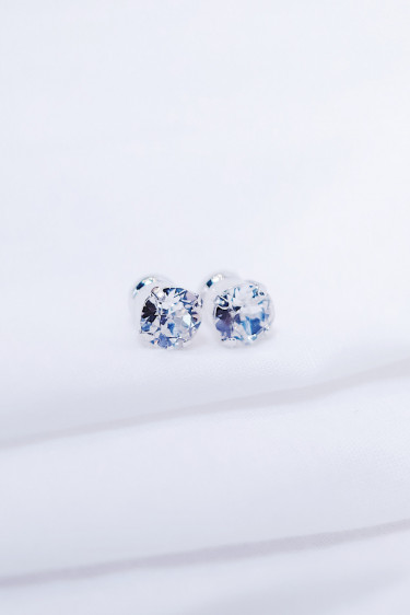 Classic Stud Earring Crystal Silver