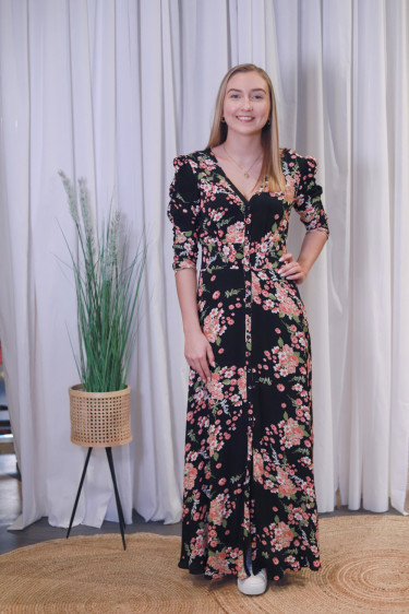 Summer Rouching Gown Flora Black