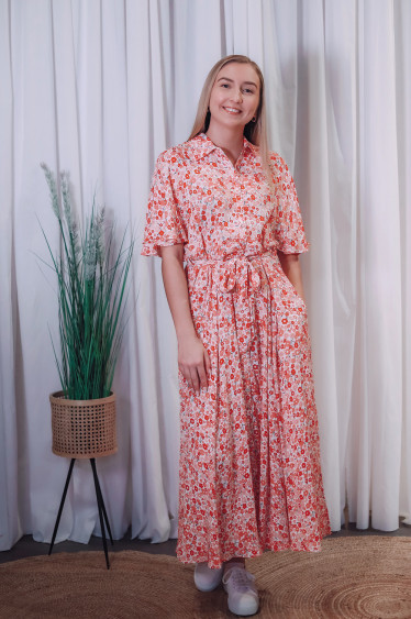 Summer Maxi Shirt Dress Red Flowers