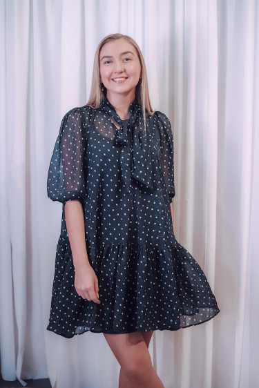 Chiffon Bowtie Dress Blue Dots