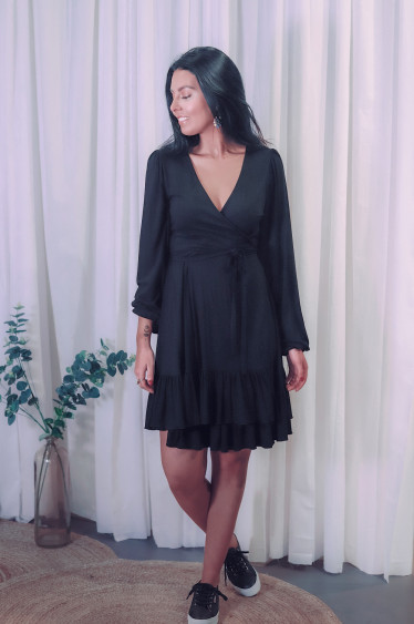 Jersey Wrap Dress Black