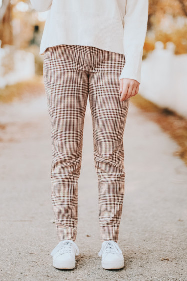 Maggie Trousers Plaids Brown