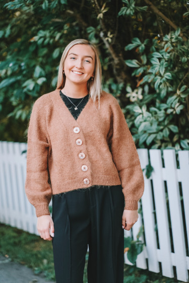 Hairy Knit Cardigan Camel
