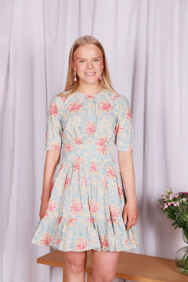 Poplin Mini Dress Painted Flowers