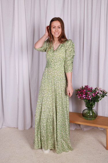 Delicate Rouching Dress Green Garden