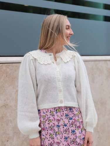Mohair Knit Collar Cardigan Off White