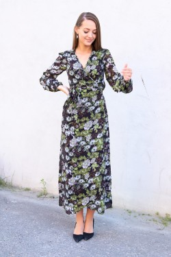 Delicate Wrap Dress Green Garden