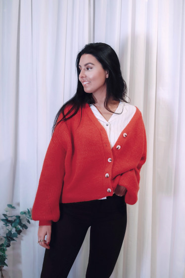 Precise Cardigan Bright Red