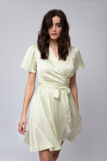 Eva Wrap Dress Green Flower