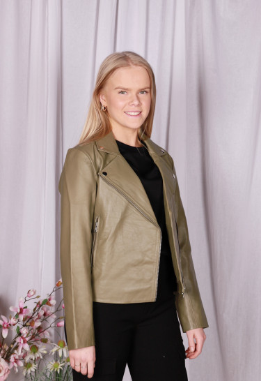 Kendra Leather Jacket Army