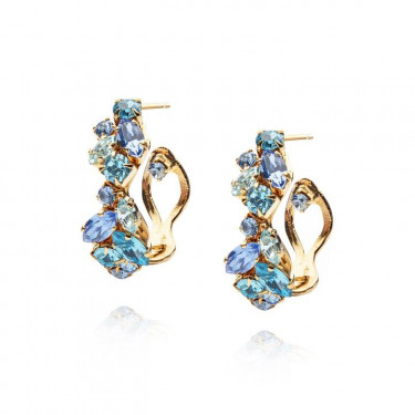 Stella Loop Earring Blue Combo Gold