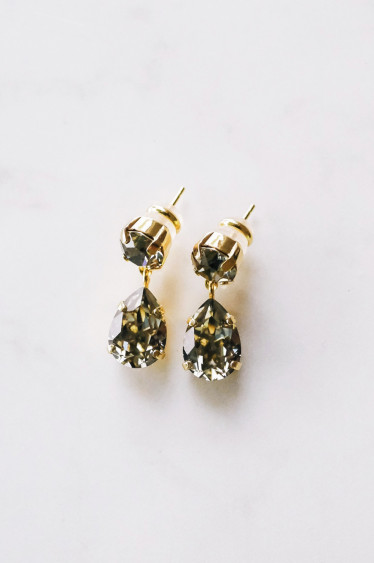 Mini Drop Earring Black Diamond Gold