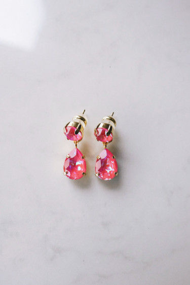 Mini Drop Earring Lotus Pink Delite Gold
