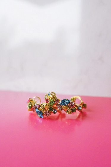 Stella Loop Earring Rainbow Combo Gold
