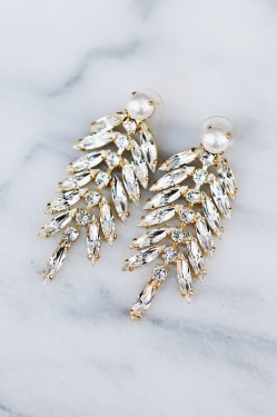 Feather Earrings Crystal Pearl