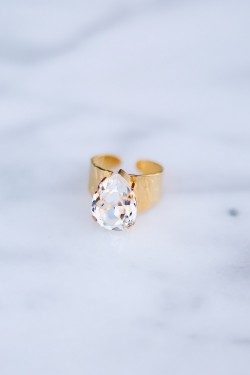 Classic Drop Ring Crystal Gold