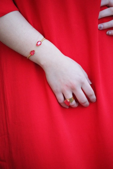 Mini Drop Bracelet Gold Raspberry Red
