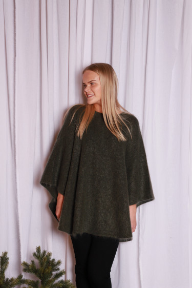 Soft demi curvy poncho Army green