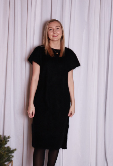 Soft wide sleeveless dress Black