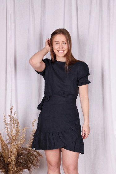 Serena Linen Dress Navy
