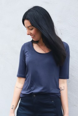 Tencel Scoop-neck Tee Indigo