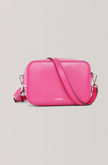 Textured Leather purse Shocking Pink