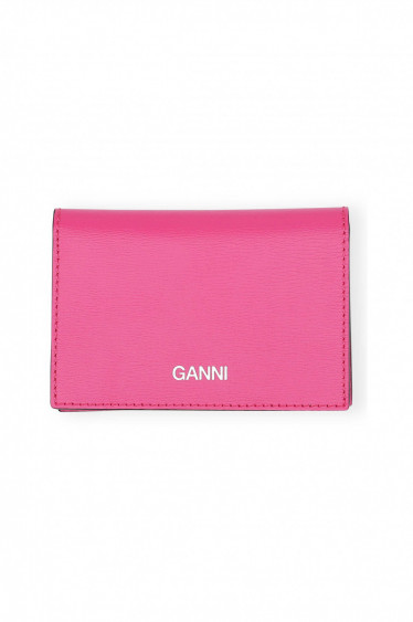 Textured Leather wallet Shocking Pink