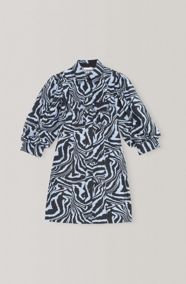 Printed Cotton Poplin Dress Forever Blue