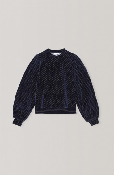 Velvet Lurex Sweater Navy