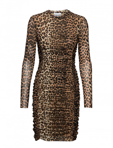 Printed Mesh Dress Leopard