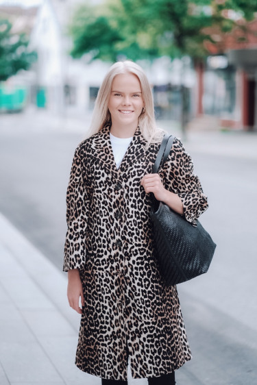 Linen Canvas Coat Leopard