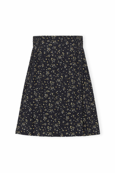 Printed Crepe Skirt Black