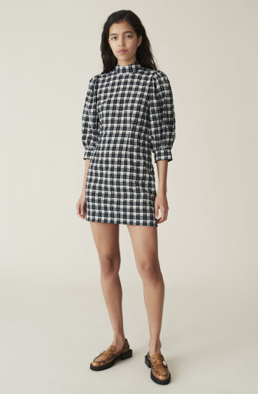 Seersucker Check Dress Black