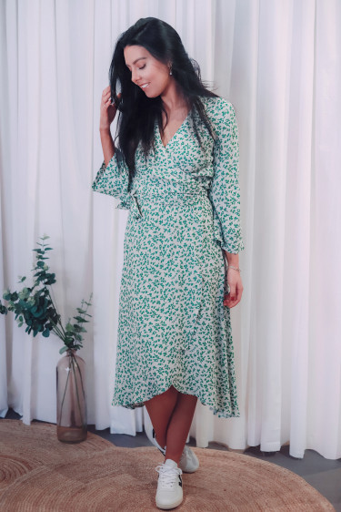 Printed Crepe Wrap Dress Tapioca