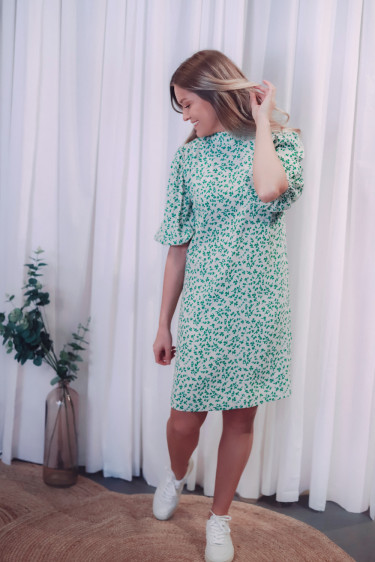 Printed Crepe Dress Tapioca