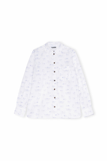 Printed Cotton Poplin Frill Shirt Kitten
