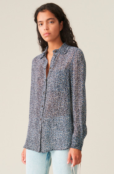 Printed Georgette Shirt Phantom