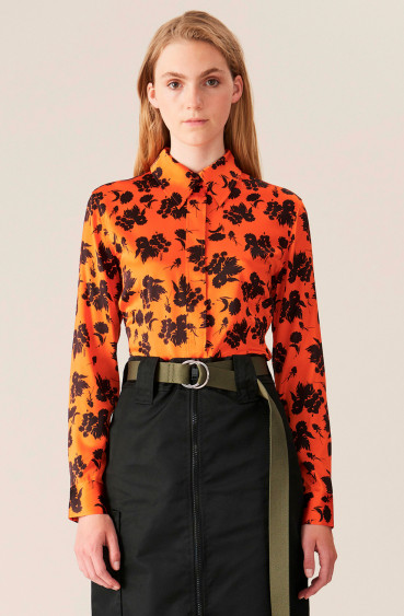 Stretch Satin Shirt Flame