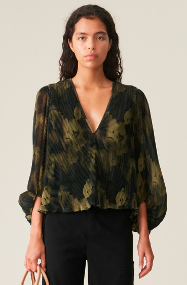 Pleated Georgette Blouse Olive Drab