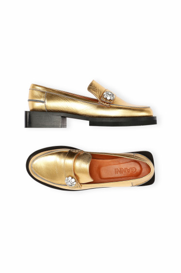 Metallic Leather Moccasin Gold