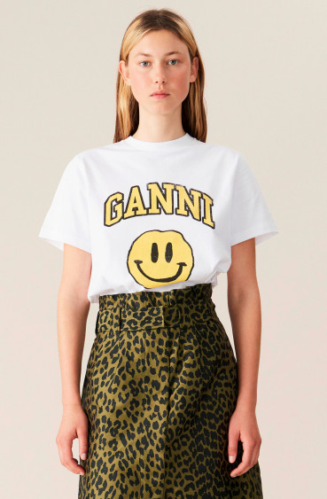 Basic Cotton Jersey Smiley Bright White