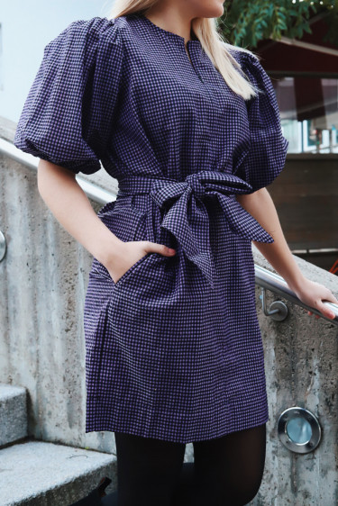 Seersucker Check Dress Deep Lavender