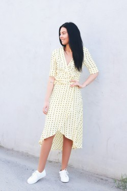 Printed Crepe Wrap Dress Maize