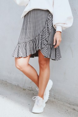 Printed Crepe Mini Skirt Black/white