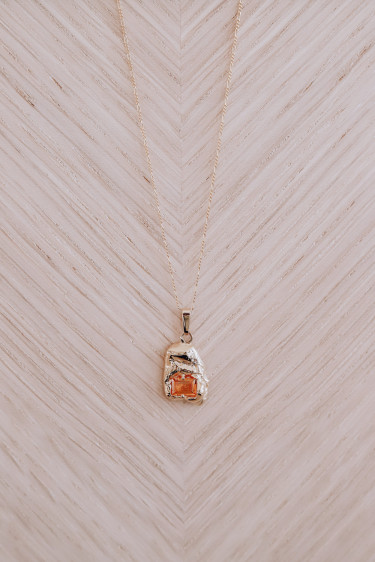 Fusion Single Entity Necklace Gold/Orange