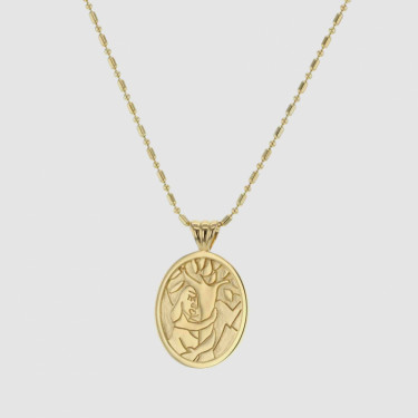 FACES HUG A TREE NECKLACE GOLD