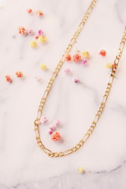 Space Flat Figaro Necklace Gold