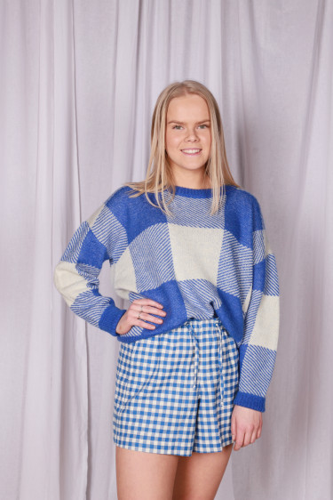 Tibbs Knit Sweater Blue Check