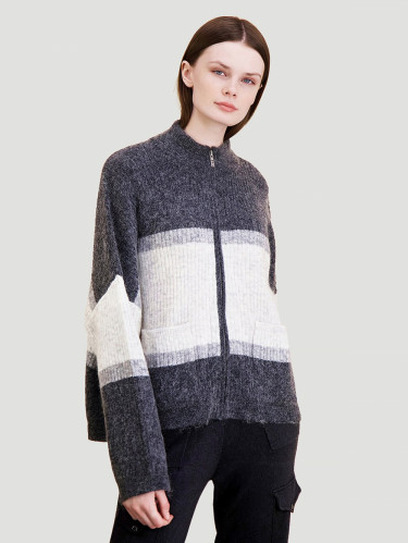 Penguin Knit Stripe Cardigan Grey Stripe